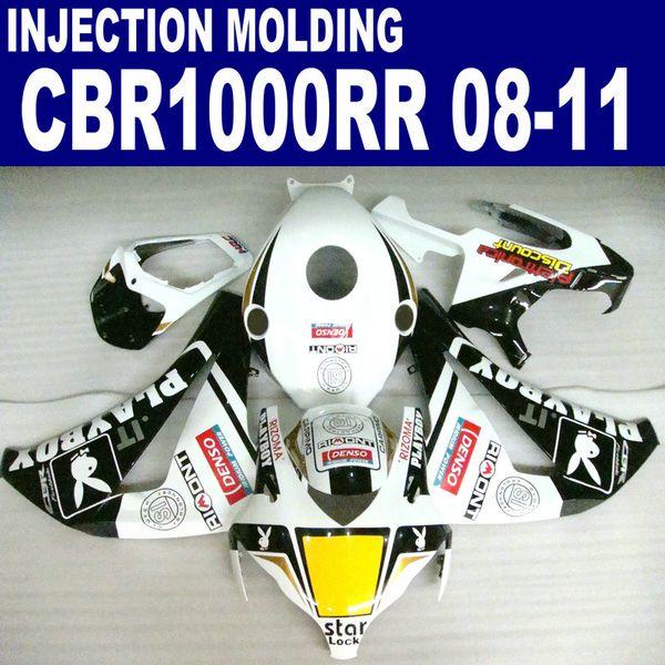 Injection molding high quality fairing kit for HONDA CBR1000RR 2008 2009 2010 2011 white black PLAYBOY CBR1000 RR fairings set 08-11 #U15