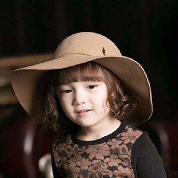 New Cute Summer Girl Wool Felt Hats Childrens Vintage Wide Brim Beach Caps Kids Sun Hats