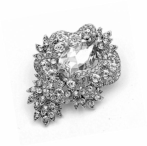 3.2 Inch Rhodium Silver Plated Clear Rhinestone Crystal Sparkly Glass Crystal Flower Brooches and Pins
