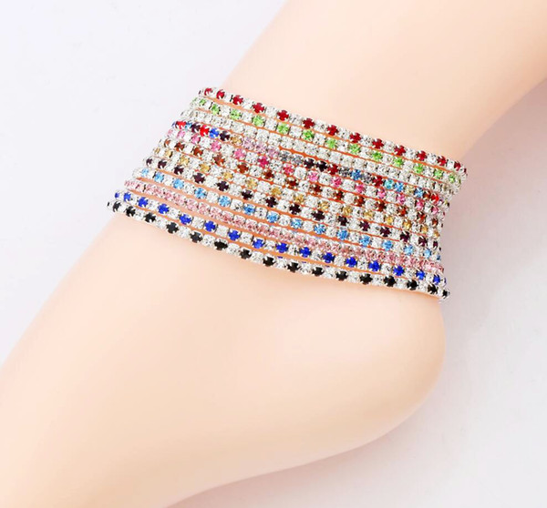top popular 12pcs lot 12colors Silver Plated Fresh Full Clear Colorful Rhinestone Czech Crystal Circle Spring Anklets Body Jewelry 2021