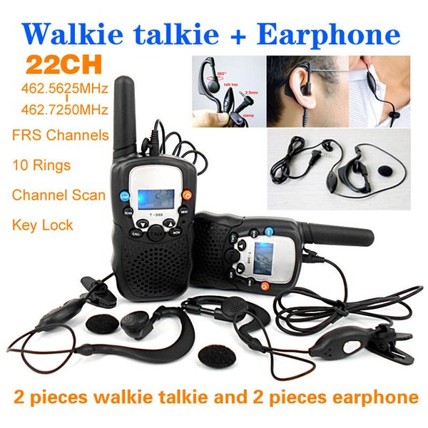 Wholesale-T-388 22 Channels Monitor Function 2 piece Mini Walkie Talkie Travel Two Way Radio Intercom + 2 piece Earphone and Retail box