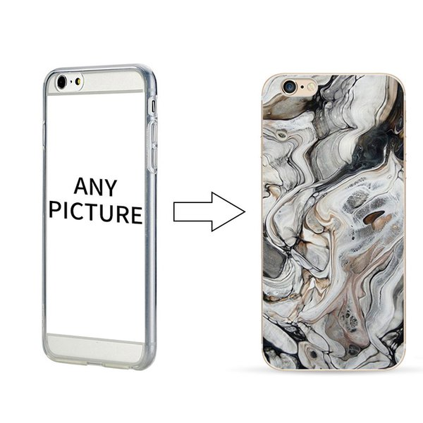 100pcs Marble Pattern Phone Case Soft TPU Clear Case for iPhone 7 Plus Personalize Phone Protector for iPhone 6