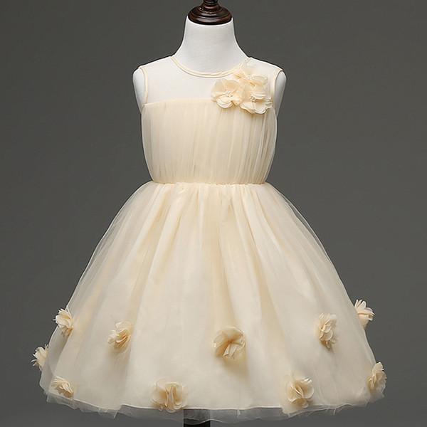 Korean winter girls dress foreign children flowers transparent fabric flower girl dress skirts princess dress
