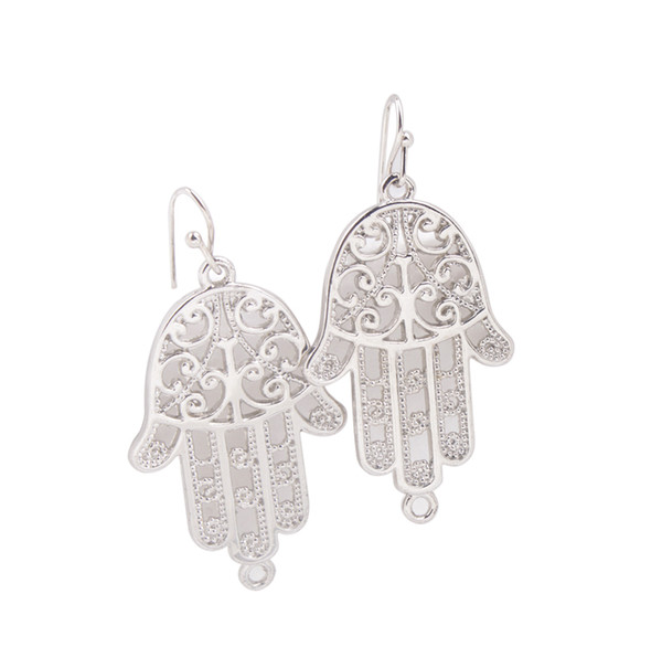 New Arrive 12 Pairs Of Fashion alloy dangler Earring Silver Tone Hamsa Hand charm Drop Earrings