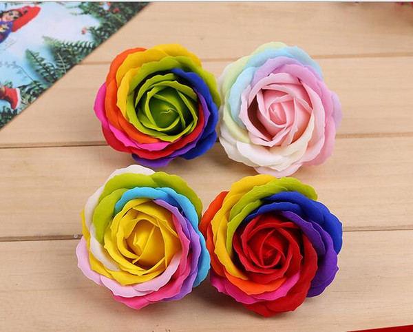 Rainbow 7 colorful Rose Soaps Flower Packed Wedding Supplies Gifts Event Party Goods Favor bathroom accessories soap flower artificial SR11