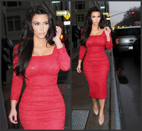 Red Lace Long Sleeves Evening Dresses Vestidos de Festa Tea Length Square Neckline Kim Kardashian Gowns Sexy Sheath Celebrity Prom Gowns