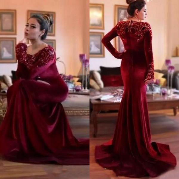 Vintage 2017 Dark Red Velvet Long Sleeve Mermaid Evening Dresses Lace Applique Beaded Formal Gowns Plus Size Custom Made China EN110913