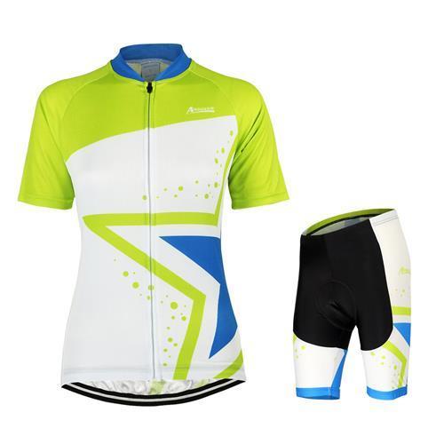 2015 Frauen Radfahren Rot Grün Schwarz Stern Kleidung Jersey Cycle Bike Team Kurzarm Tragen Lycra Hosen Anzüge MTB Sportbekleidung Hot