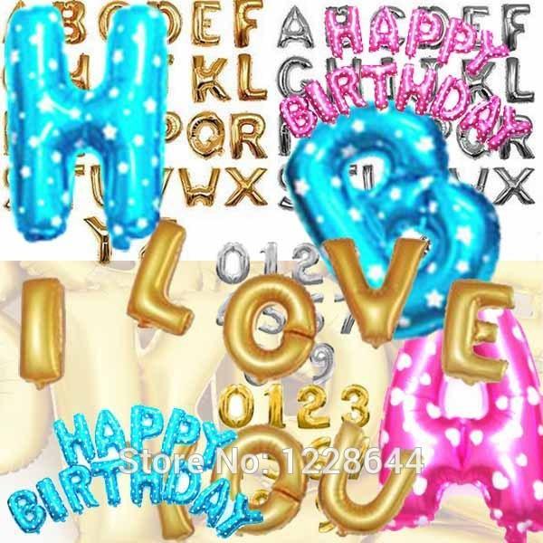 Decoraciones de la fiesta de cumpleaños para niños Alfabeto Número de carta Globos de papel de aluminio Fiesta de bienvenida al bebé suministros 50 piezas / lote 16 pulgadas al por mayor