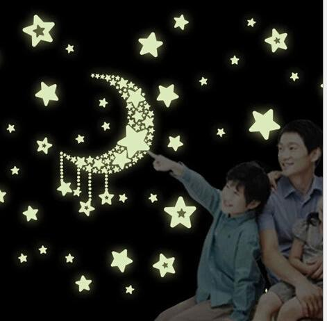 2015 ecológico PVC fluorescente luminosa etiqueta de la pared resplandor en las estrellas oscuras decorativos tatuajes de pared para habitaciones de niños decoración de arte de la pared