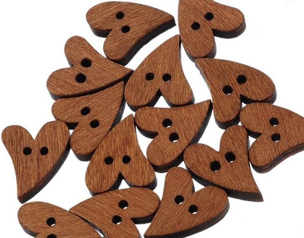 100pcs/set Lovely Brown Wood Wooden Sewing Heart Shape Craft Button Scrapbooking DIY