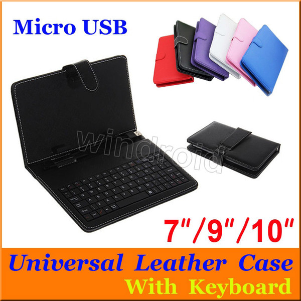 Universal PU leather cover case with Keyboard Micro USB port flip stand holder For 7 inch Tablet PC A13 Q88 A23 A33 Q8 colorful 100pcs cheap