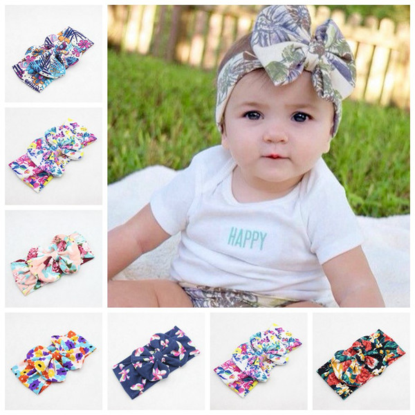 New Baby Toddler Tessuto di cotone Floreale bow Bandane Nodo Fasce Headwrap pianta fiore Bambino Turban Tie Nodo Soft Head wrap fascia FD6560