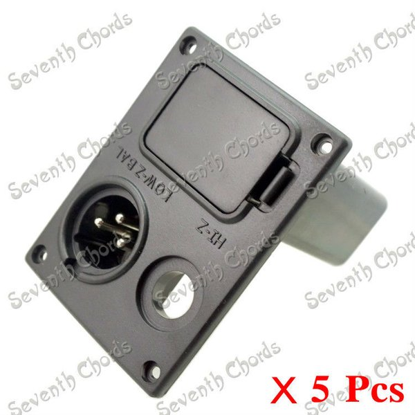 5 Pcs Acoustic Guitar Equalizer EQ 9V Battery Boxs/Holder/Case/Compartment Cover/Jack Box With XLR connector Plug