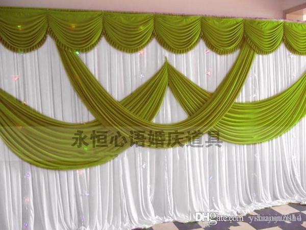 2015 New Fashion 3*6m Wedding Party Stage Celebration Background Satin Curtain Drape Pillar Ceiling Backdrop Marriage decoration Veil