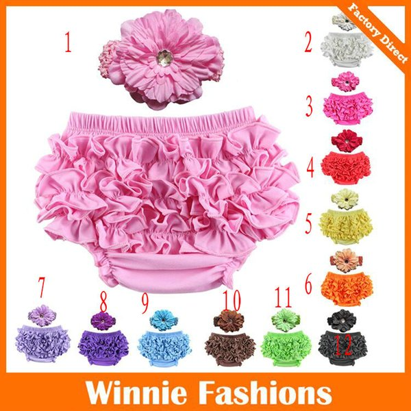 12 Colors Baby Girls Ruffle Bloomer Headband Set (TUTU underwear+diamond flowear Headwear) Infant cake bloomers shorts pants diaper covers