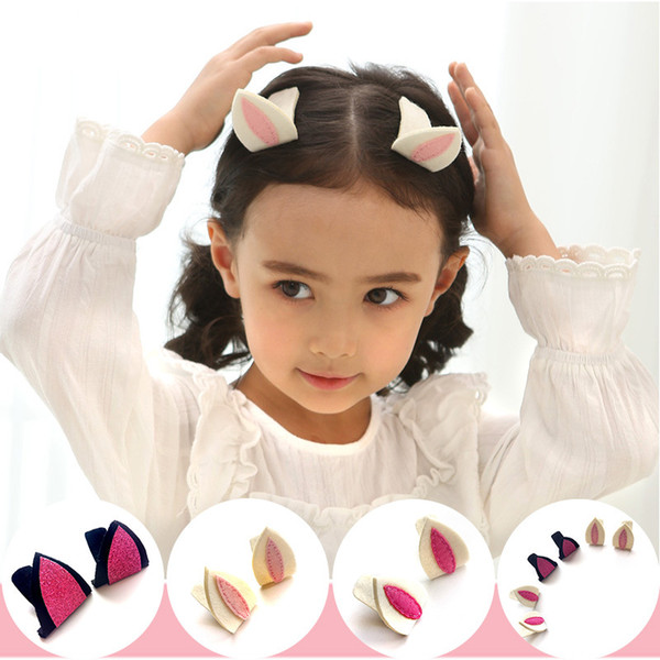 2017 Newest Girls Hairpins 3D Stereo Embroidery Ear Clips Children Hair Accessories Fabric Dots and Solid Colors