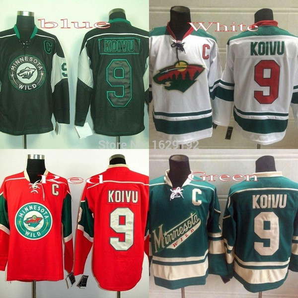 2015 New Minnesota Wild Hockey Jerseys #9 Mikko Koivu Jersey Away Road White Home Red Alternate Green Stitched Jerseys Cheap