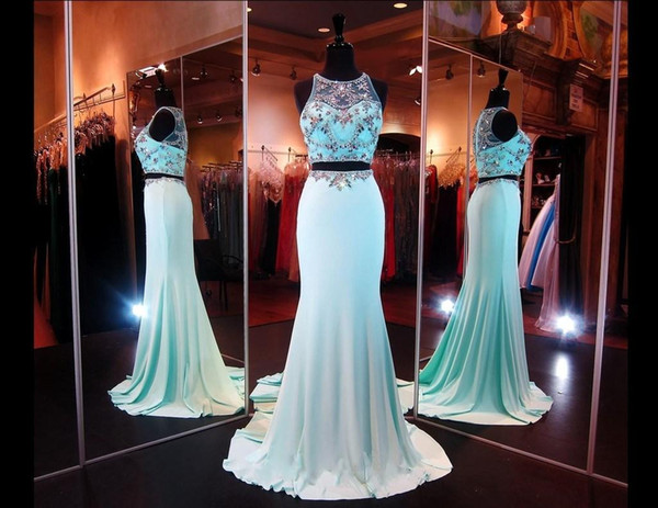 Elegant 2015 Two-Pieces Crystal Mint Green Prom Dresses With Sheer Back Party Queen Dresses Evening Dresses Gowns for Pageant Formal Dress