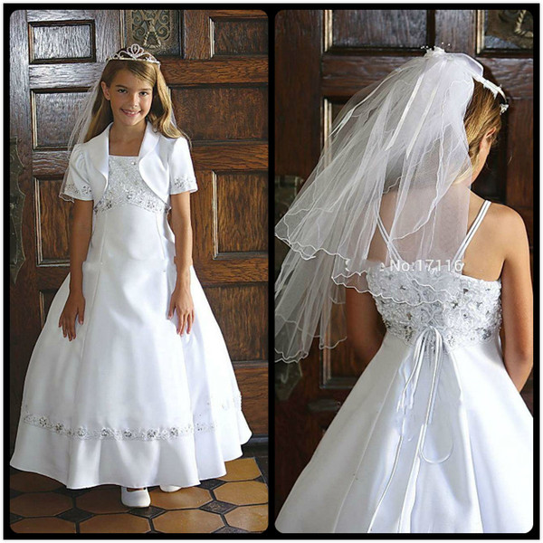 2016 Sweet White Flower Girls' Dresses Square Neck A Line Lace Appliques Beaded Ankle Length Flower Girls Dress For Wedding With Jacket