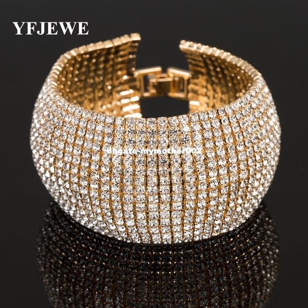 YFJEWE мода полный горный хрусталь ювелирные изделия для женщин роскошный классический Кристалл проложить ссылка браслет Браслет свадебные аксессуары B122