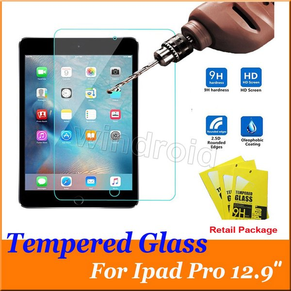 Tempered glass for ipad pro 12.9 9.7 inch 9H 2.5D 0.33mm Screen Protector Hardness Shatterproof Anti-Scratch HD + retail box Free DHL 30pcs