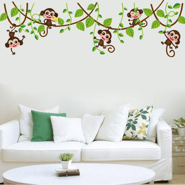 Cheap carton autocollant mural dcor peint le singe for Autocollant mural arbre
