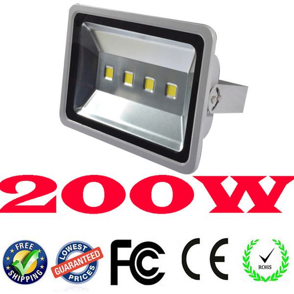 Hot Ultrabright Silver 200W Led Flood Light IP65 Waterproof AC85-265V 21000LM COB power Pared al aire libre Led Floodlights Cool White / Warm White