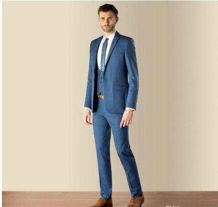 New Style Slim Fit Blue Groom Tuxedos Best Man Peak Lapel Groomsman Men Wedding Suits Bridegroom (Jacket+Pants+Vest+Tie)