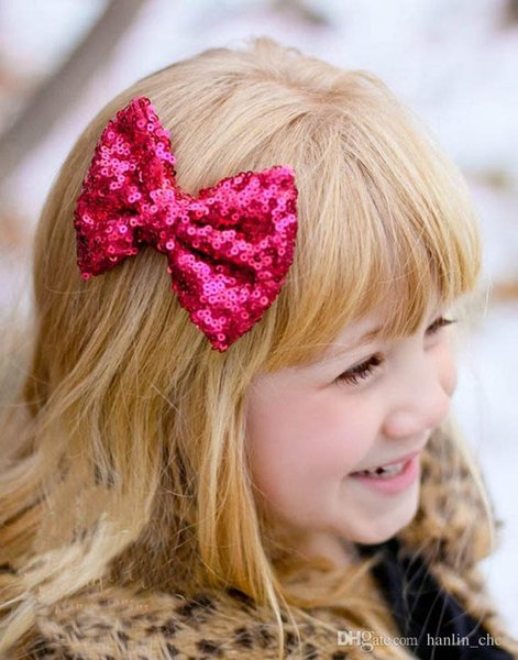 Hot 11 colors little girls hair clips hair children flash sequins cute baby hair bow accessories headbands ZL76