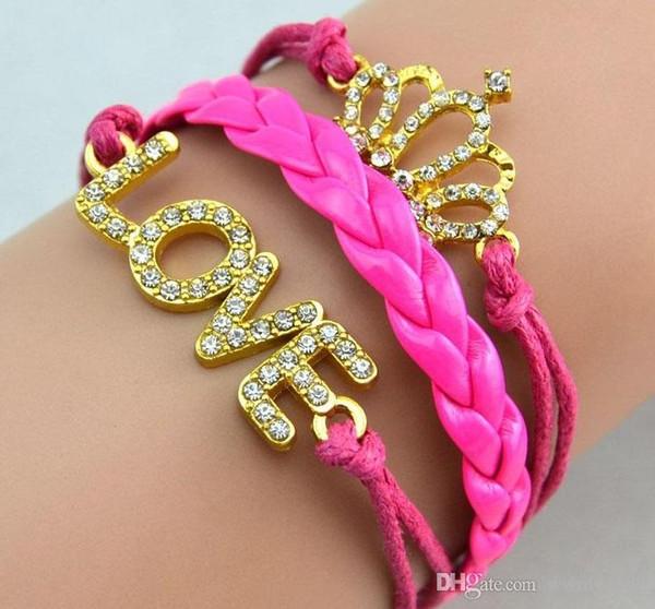 Infinity Diamond Love Bracelets Golden Crown Bracelets women Wristband leather Woven bracelets jewelry Women handmade Bracelet Free shipping