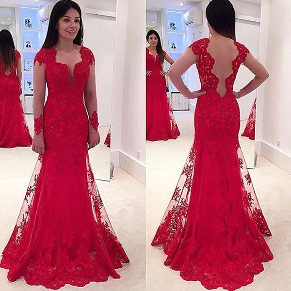 Red Formal Evening Dresses Lace Sequined Long Sleeve Sheer Back Prom