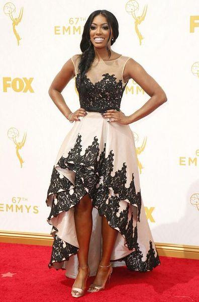 d55f00439c1 67th Annual Emmy Awards High Low Prom Dresses 2016 Porsha Williams Red  Carpet Sheer Neck Appliqued Lace Formal Celebrity Evening Dresses