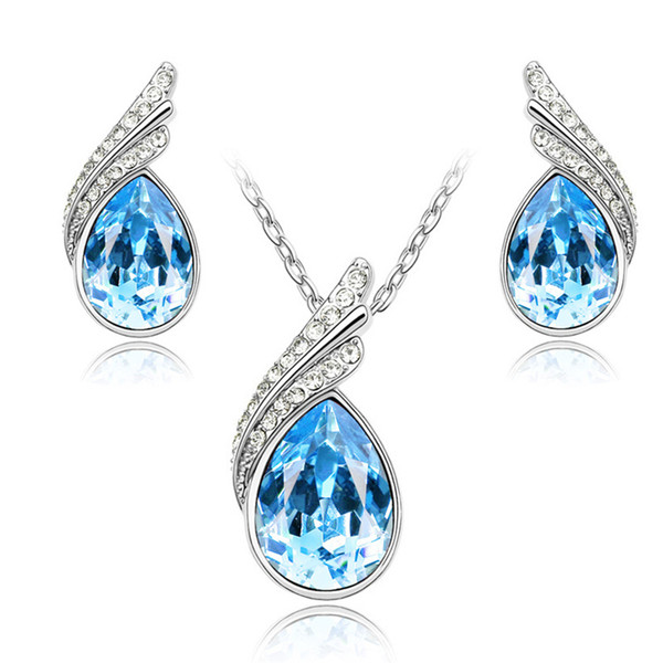 Fashion Stud Earrings Necklace Set Shining Crystal Necklace and Earrings Wedding Jewelry Set Bridal Accessories A39+B66