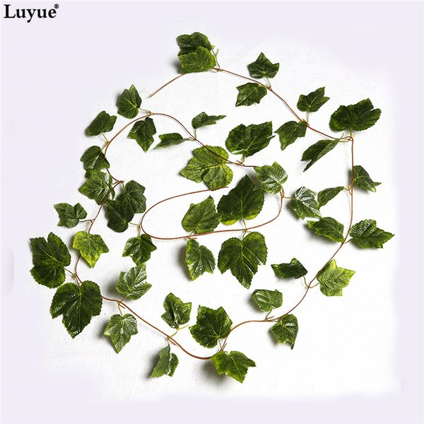 Eco-Friendly 10pcs Artificial Silk Grape Leaves Hanging Garland Faux Vine Ivy Indoor Outdoor Green Leaves Garden Wedding Home Decor