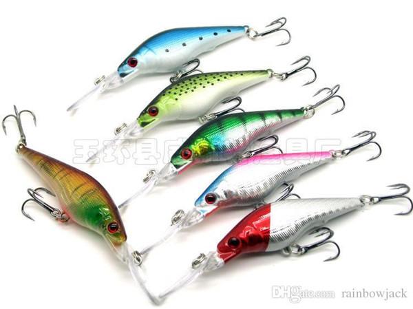 Simulation fishing lure hard bait 9cm 7g 6colors Minnow Crankbait Pesca Crappie Freshwater Fishing Tackle 30pcs/lot