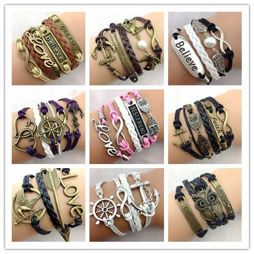 best selling 30pcs 283 Designs Leather Bracelet Antique Cross Anchor Love Peach Heart Owl Bird Believe Pearl Knitting Bronze Charm Bracelets C2182