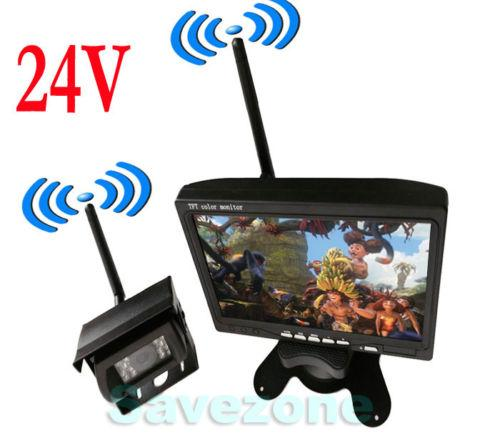 "best selling 24V Wireless Car Rear View Kit 7"" LCD Monitor + 18 IR LED Reversing Camera"
