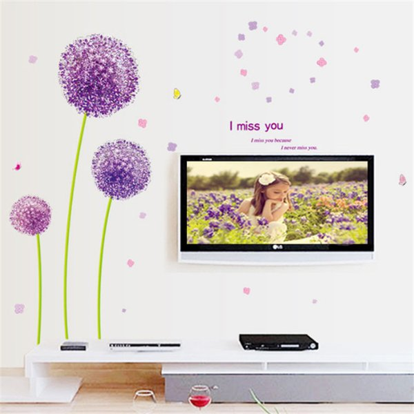 Purple Dandelion Wall Stickers creative romantic home decor wall of bedroom walls Factory Wholesale 2018 New Arrived