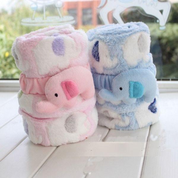 Cute Animal Elephant Infant Boys Girls Winter Blankets 95*83CMBaby Children Velvet Warmth Cartoon Quilts Childs Kids Cute Warm Blacket H2343
