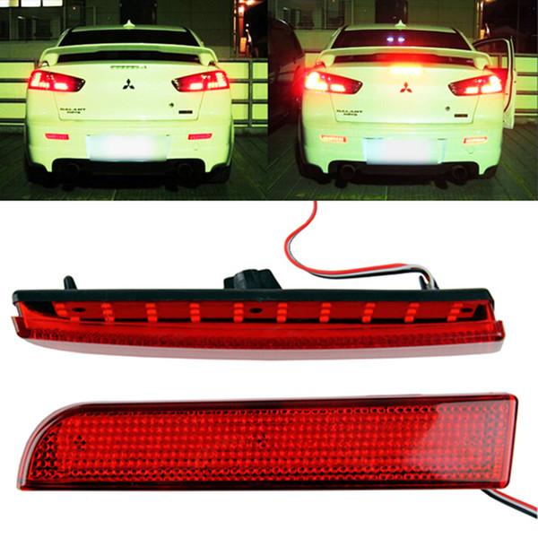 DC 12V Car LED Light For Mitsubishi Lancer Evo X Red Lens Bumper Reflector LED Tail Rear Bumper Lamp Brake Stop Light Lamps
