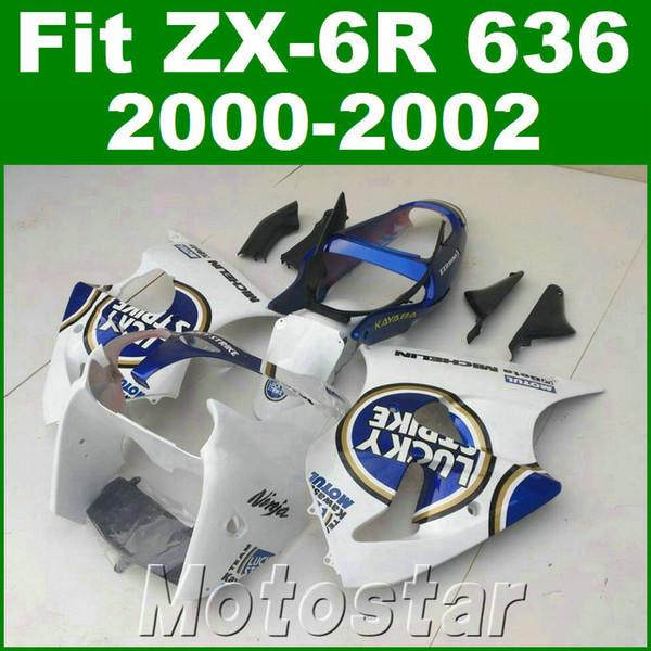 Carenados de carrocería de plástico para kawasaki ZX6R 636 00 01 02 ZX636 ZX-6R 2000 2001 2002 azul blanco LUCKY STRIKE kit de carenado JK89