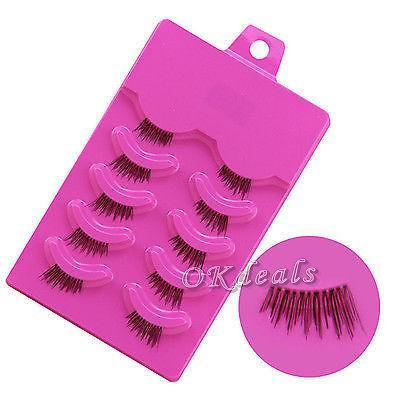 Venta al por mayor-5 pares de mujeres Lady Half Half False Eyelashes Kit de extensión Parcial largo grueso hecho a mano Fake False Eye Lashes Maquillaje Beauty Kit Tool