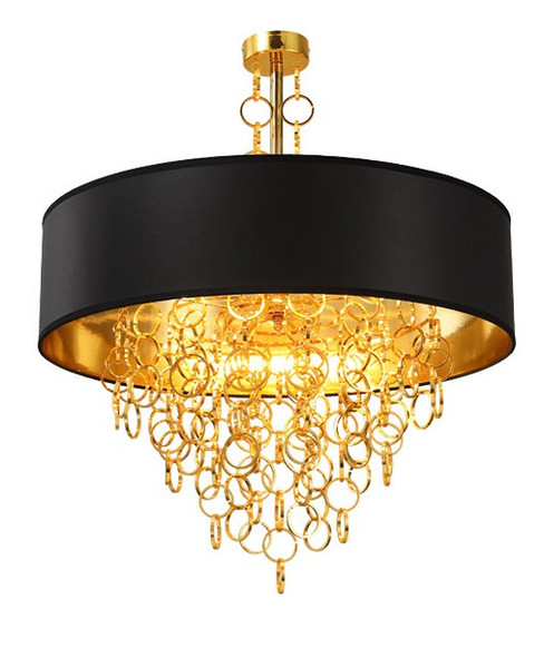Modern Chandeliers with Black Drum Shade Pendant Light Gold Rings Drops in Round Ceiling Light Fixture LLFA