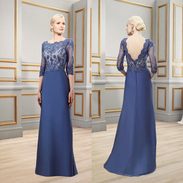 Blue Elegant Mother Of The Bride Dresses For Wedding Backless Applique Beads Plus Size Mother's Dress Formal Gown Evening Dresses Party Wear