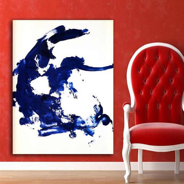 Acheter 1 Panneau Classique Bleu Abstraite Peinture à L Huile Décor à La Maison Mur Photos Pour Le Salon Peintures Sur Toile Aucun Cadre Peinture