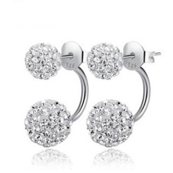 ORSA JEWELS Popular Girl's Double Sided Ball Stud Earring Full Set Crystal Beads Earrings Romantic Gift for Women OE92