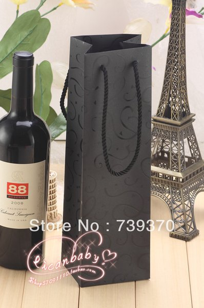 12pcs 33*10*9cm High Quality Black Cardboard Paper Red Wine Bag Packaging Bags with Handle for Gift Candy Wedding Party Favors