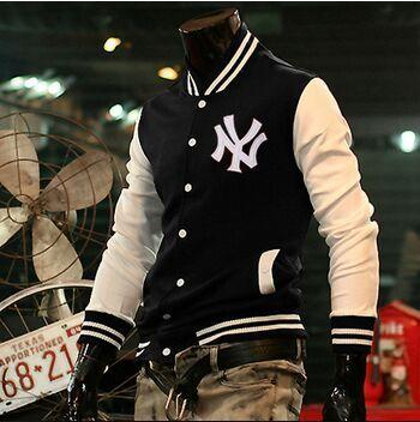 "Trendy Designed ""NY"" Baseball Fit Uniform Slim Coat Baseball Windbreaker Jackets for Men Outerwear M~XXL Sports Coats Hoodies Sweatshirts"