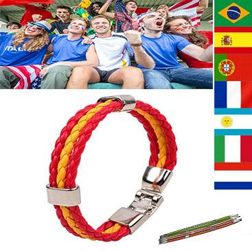 Wholesale-National Flag Color Hand Chain World Cup Teams Fans Bracelets Spain Brazil Italy England France Germany Flag Charm Bracelet